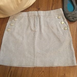 J. Crew Pinstripe Mini Skirt Accent Buttons Sz 4